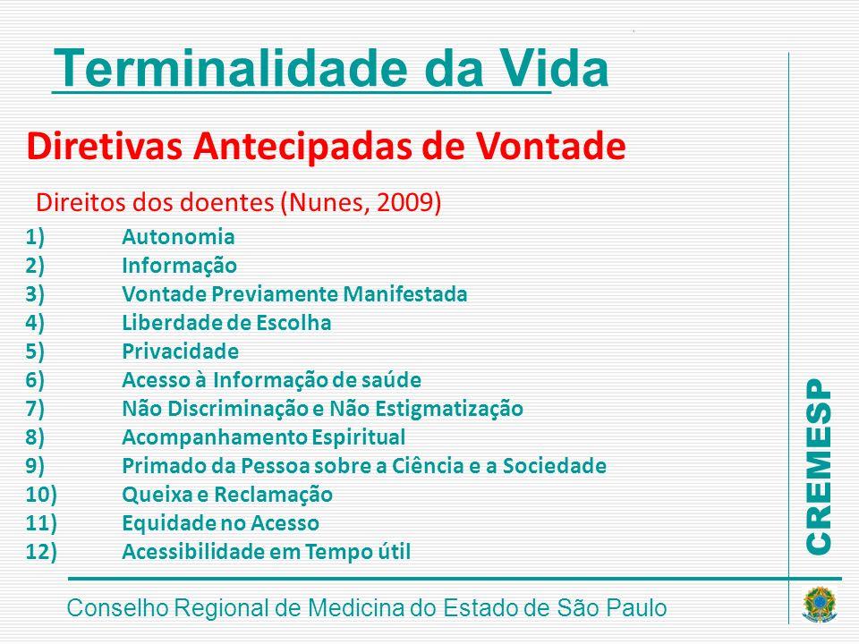 CREMESP Conselho Regional de Medicina do Estado de São Paulo Terminalidade da Vida Diretivas Antecipadas de Vontade Direitos dos doentes (Nunes, 2009)