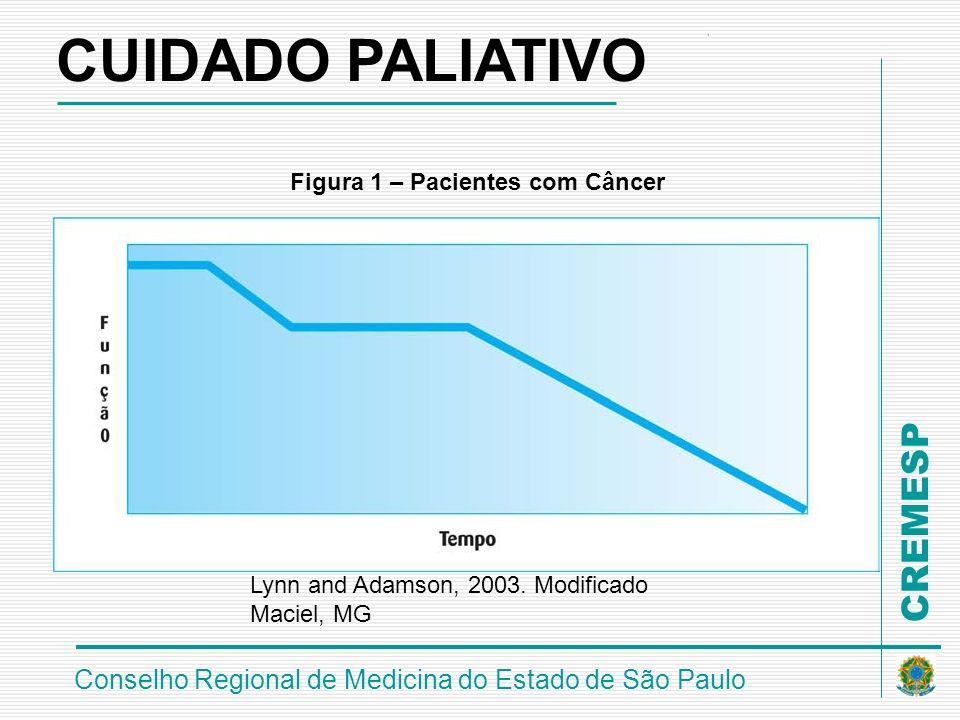CREMESP Conselho Regional de Medicina do Estado de São Paulo Figura 1 – Pacientes com Câncer Lynn and Adamson, 2003. Modificado Maciel, MG CUIDADO PAL