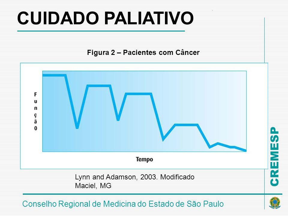 CREMESP Conselho Regional de Medicina do Estado de São Paulo Figura 2 – Pacientes com Câncer Lynn and Adamson, 2003. Modificado Maciel, MG CUIDADO PAL
