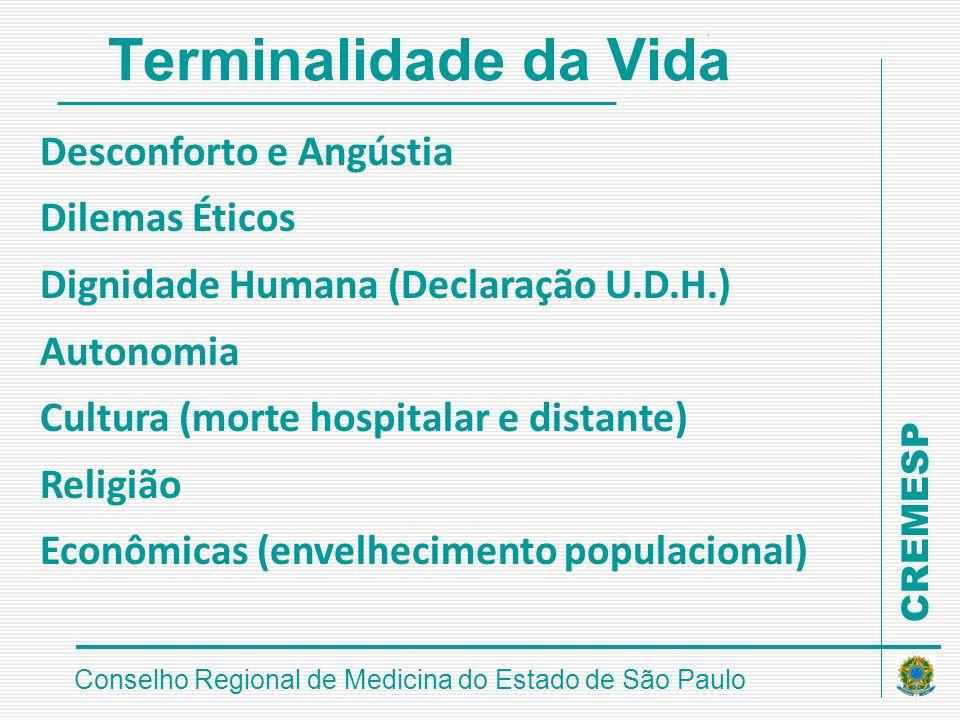 CREMESP Conselho Regional de Medicina do Estado de São Paulo Terminalidade da Vida Desconforto e Angústia Dilemas Éticos Dignidade Humana (Declaração