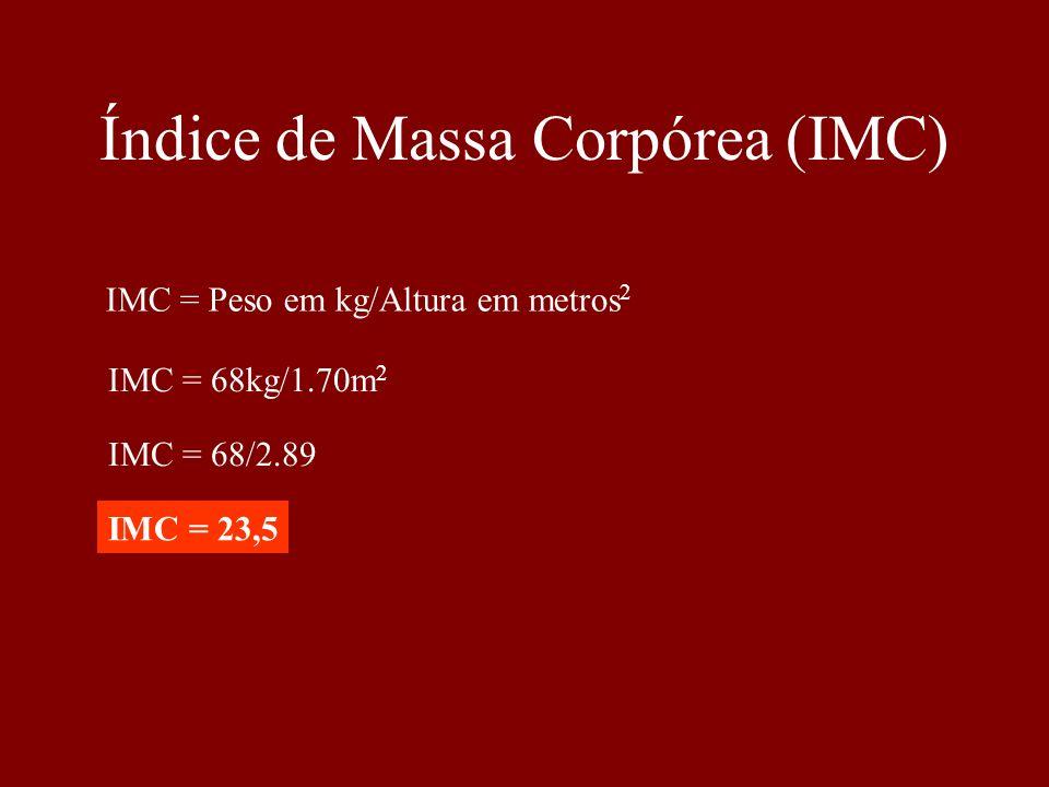 Índice de Massa Corpórea (IMC) IMC = Peso em kg/Altura em metros 2 IMC = 68kg/1.70m 2 IMC = 68/2.89 IMC = 23,5