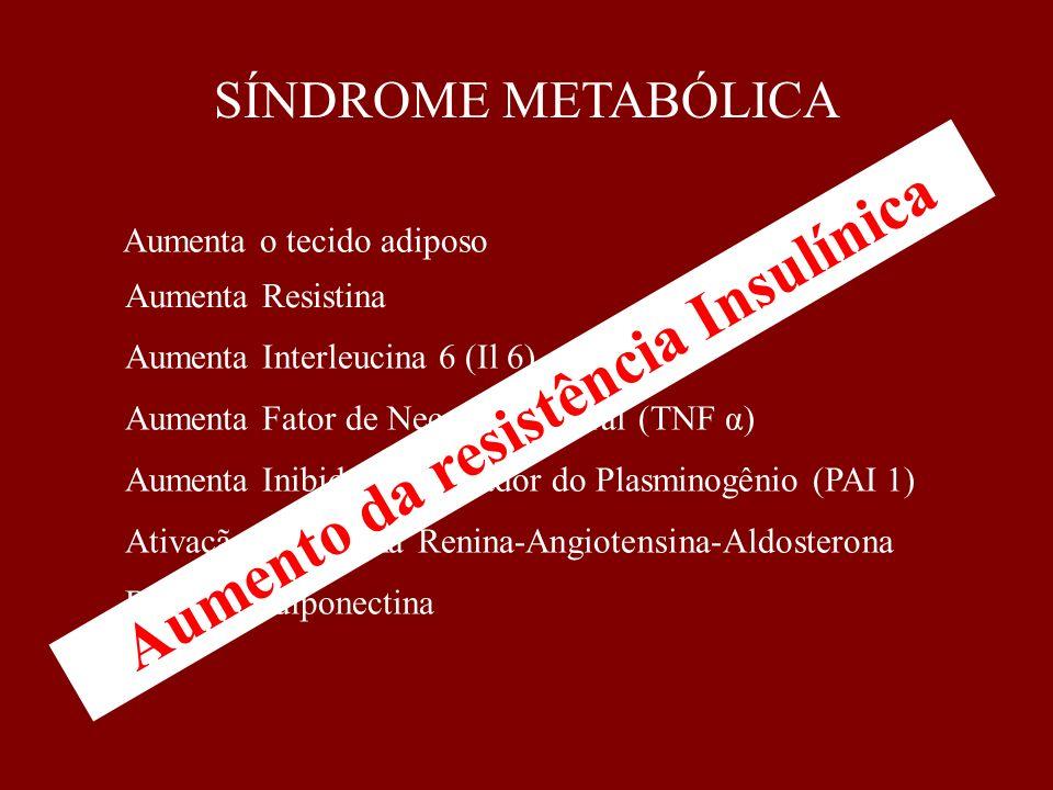 SÍNDROME METABÓLICA Aumenta o tecido adiposo Aumenta Inibidor do ativador do Plasminogênio (PAI 1) Diminui Adiponectina Ativação do sistema Renina-Ang