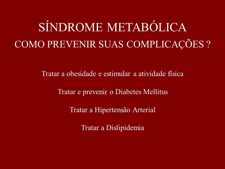 SÍNDROME METABÓLICA COMO PREVENIR SUAS COMPLICAÇÕES ? Tratar a obesidade e estimular a atividade física Tratar e prevenir o Diabetes Mellitus Tratar a