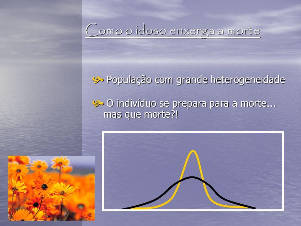 Como o idoso enxerga a morte População com grande heterogeneidade População com grande heterogeneidade O indivíduo se prepara para a morte... mas que