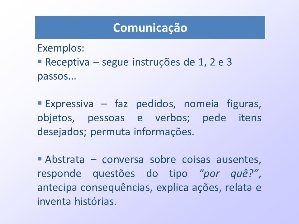 Comunicação Exemplos: Receptiva – segue instruções de 1, 2 e 3 passos... Expressiva – faz pedidos, nomeia figuras, objetos, pessoas e verbos; pede ite