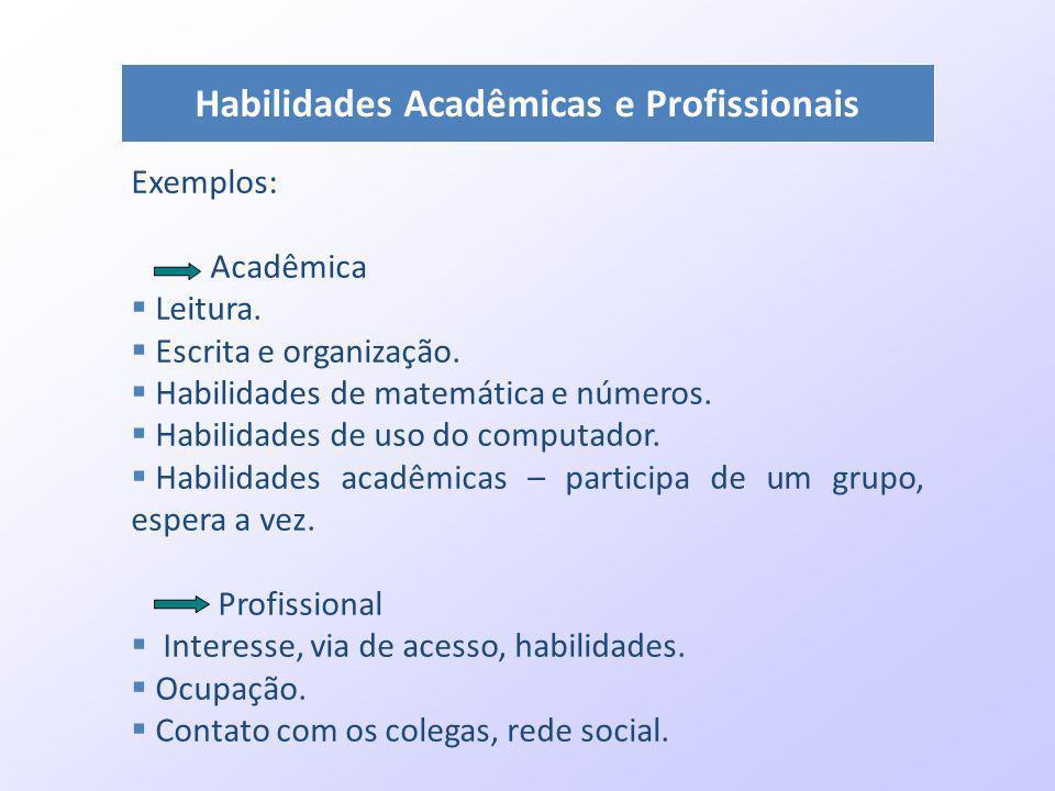 Habilidades Acadêmicas e Profissionais Exemplos: Acadêmica Leitura. Escrita e organização. Habilidades de matemática e números. Habilidades de uso do