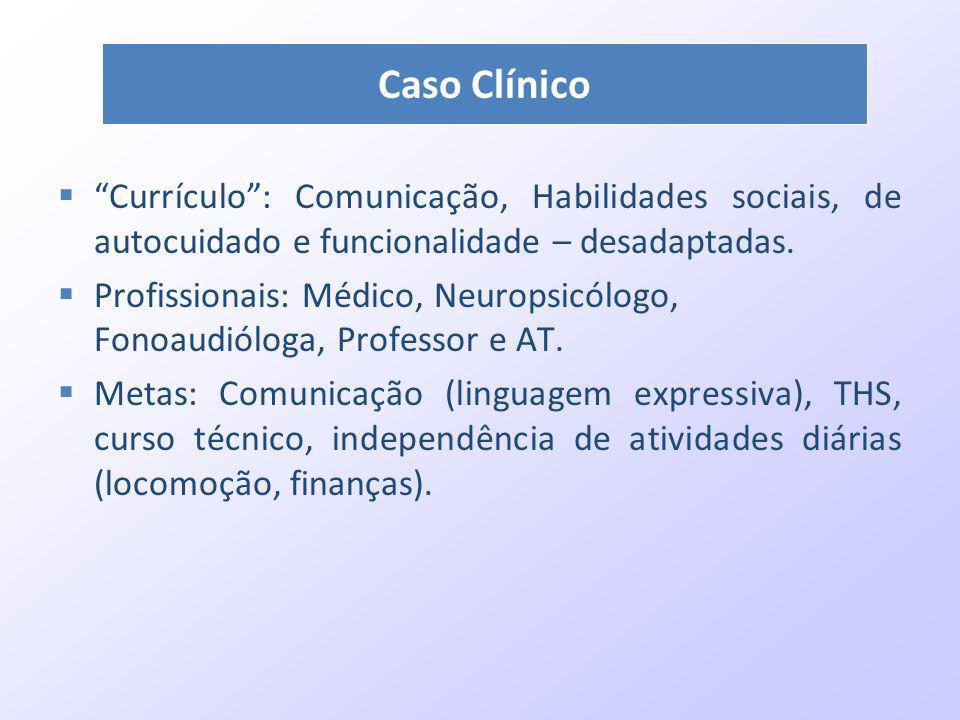Currículo: Comunicação, Habilidades sociais, de autocuidado e funcionalidade – desadaptadas. Profissionais: Médico, Neuropsicólogo, Fonoaudióloga, Pro