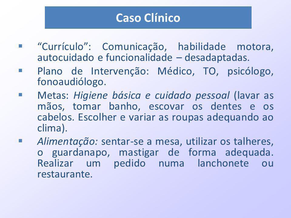 Currículo: Comunicação, habilidade motora, autocuidado e funcionalidade – desadaptadas. Plano de Intervenção: Médico, TO, psicólogo, fonoaudiólogo. Me
