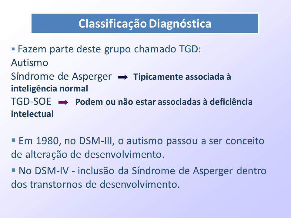 Fazem parte deste grupo chamado TGD: Autismo Síndrome de Asperger Tipicamente associada à inteligência normal TGD-SOE Podem ou não estar associadas à