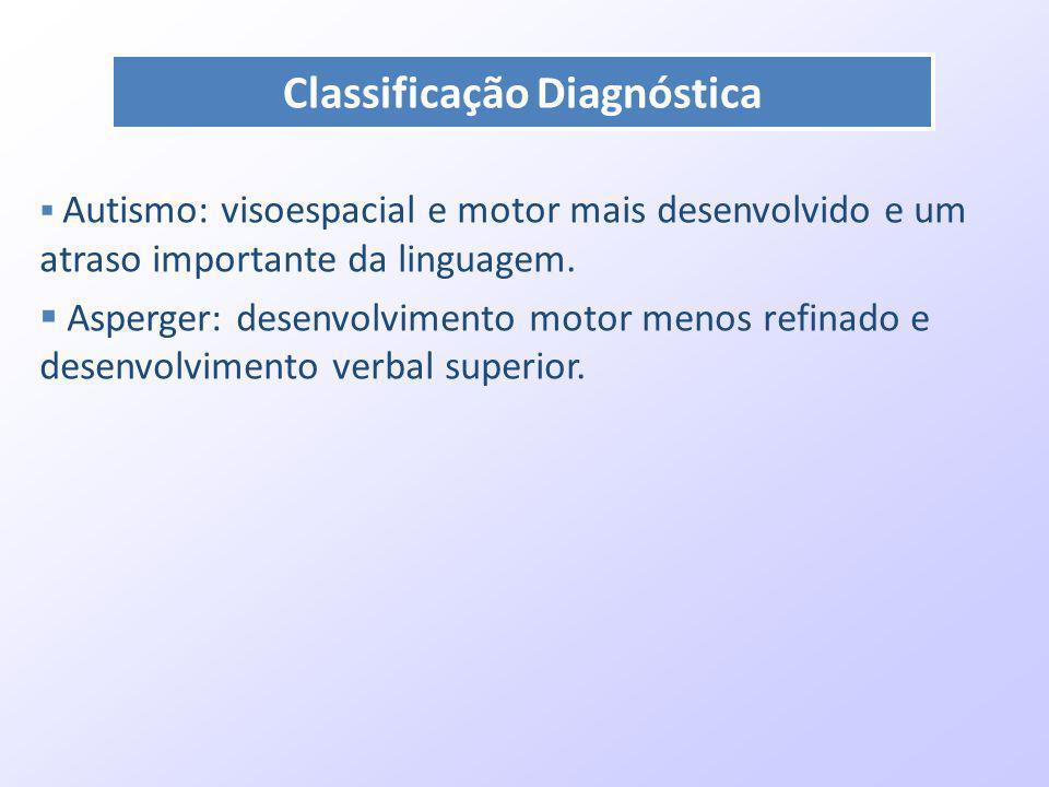 Autismo: visoespacial e motor mais desenvolvido e um atraso importante da linguagem. Asperger: desenvolvimento motor menos refinado e desenvolvimento