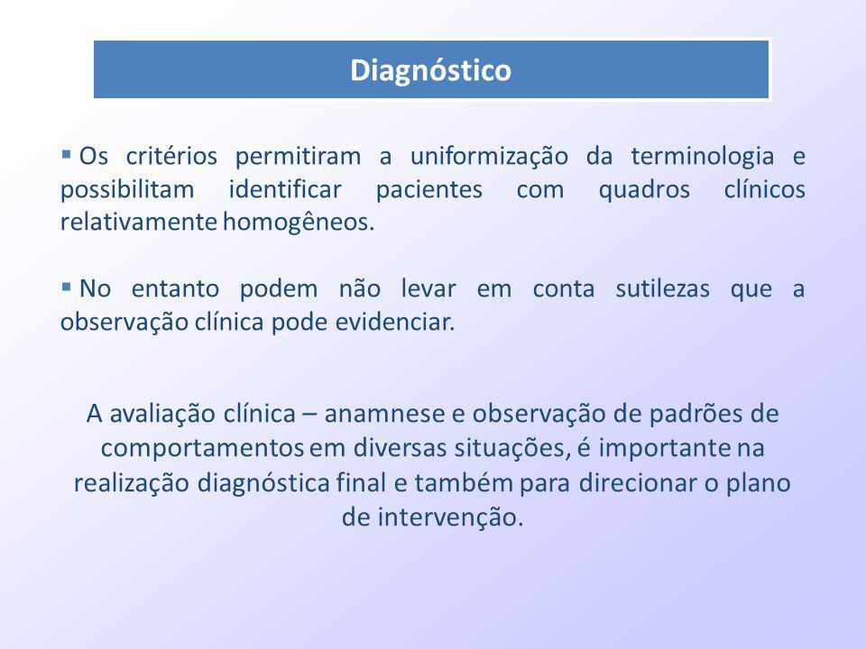 Diagnóstico Os critérios permitiram a uniformização da terminologia e possibilitam identificar pacientes com quadros clínicos relativamente homogêneos