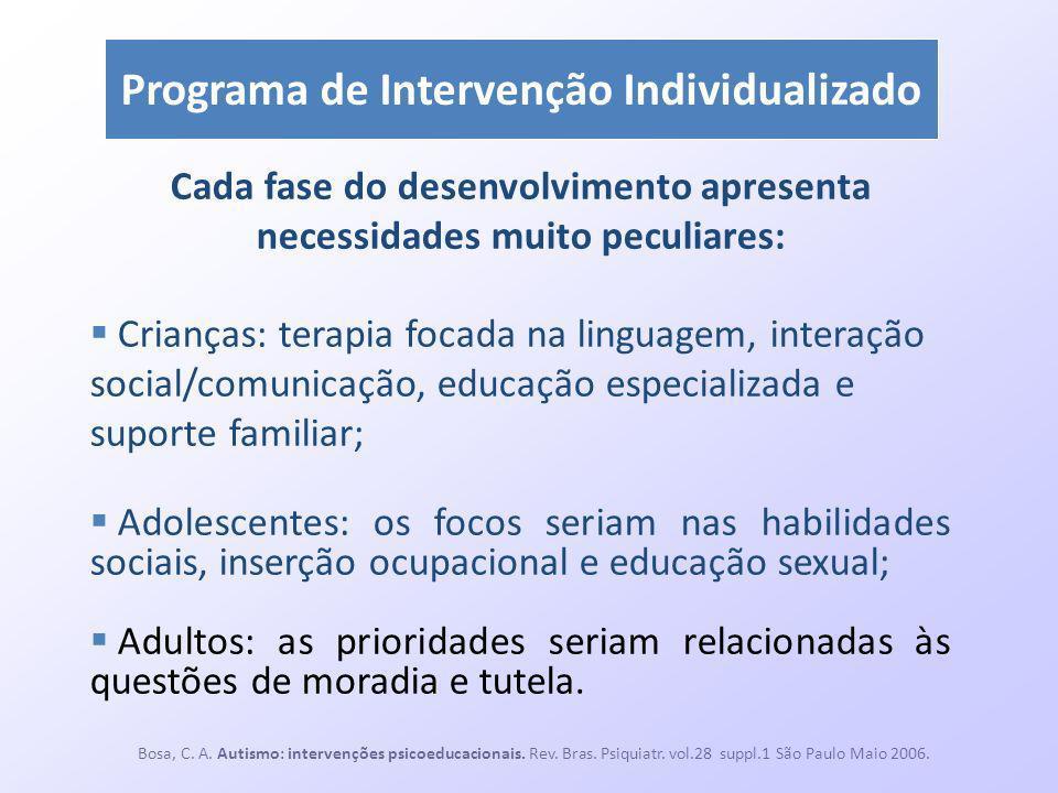 Programa de Intervenção Individualizado Cada fase do desenvolvimento apresenta necessidades muito peculiares: Crianças: terapia focada na linguagem, i