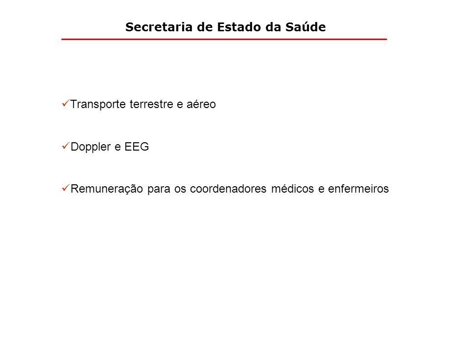 Secretaria de Estado da Saúde Transporte terrestre e aéreo Doppler e EEG Remuneração para os coordenadores médicos e enfermeiros