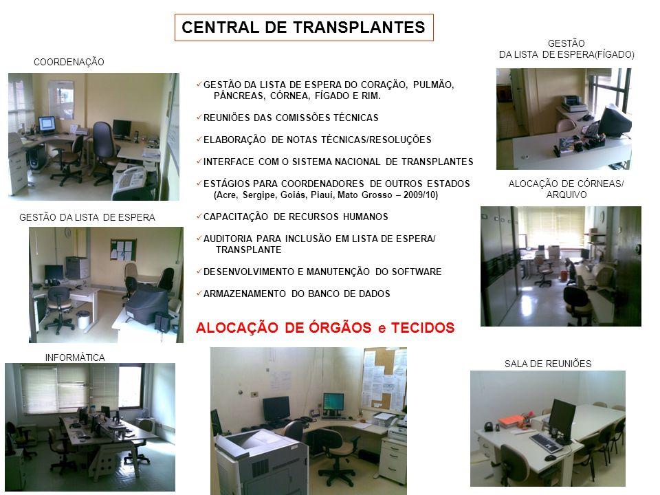 CENTRAL DE TRANSPLANTES COORDENAÇÃO INFORMÁTICA GESTÃO DA LISTA DE ESPERA ALOCAÇÃO DE ÓRGÃOS e TECIDOS SALA DE REUNIÕES ALOCAÇÃO DE CÓRNEAS/ ARQUIVO G