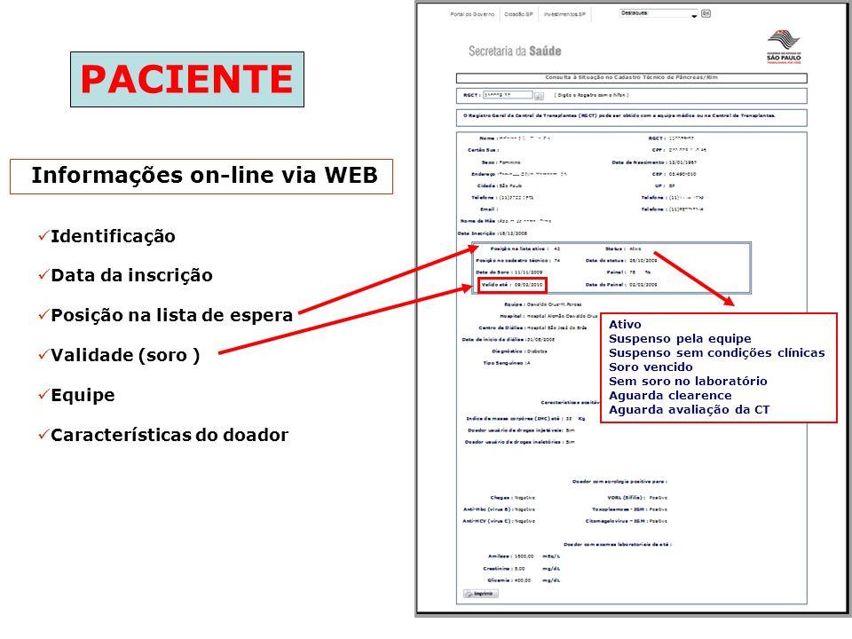 Informações on-line via WEB Identificação Data da inscrição Posição na lista de espera Validade (soro ) Equipe Características do doador Ativo Suspens