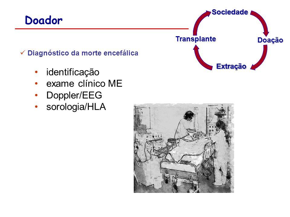 Doador Diagnóstico da morte encefálica identificação exame clínico ME Doppler/EEG sorologia/HLA Extração Sociedade Sociedade Doação SociedadeTransplan