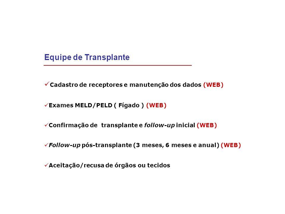 Cadastro de receptores e manutenção dos dados (WEB) Exames MELD/PELD ( Fígado ) (WEB) Confirmação de transplante e follow-up inicial (WEB) Follow-up p