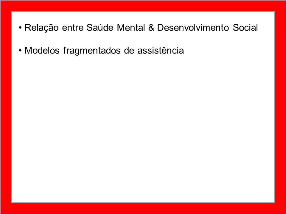 Relação entre Saúde Mental & Desenvolvimento Social Modelos fragmentados de assistência
