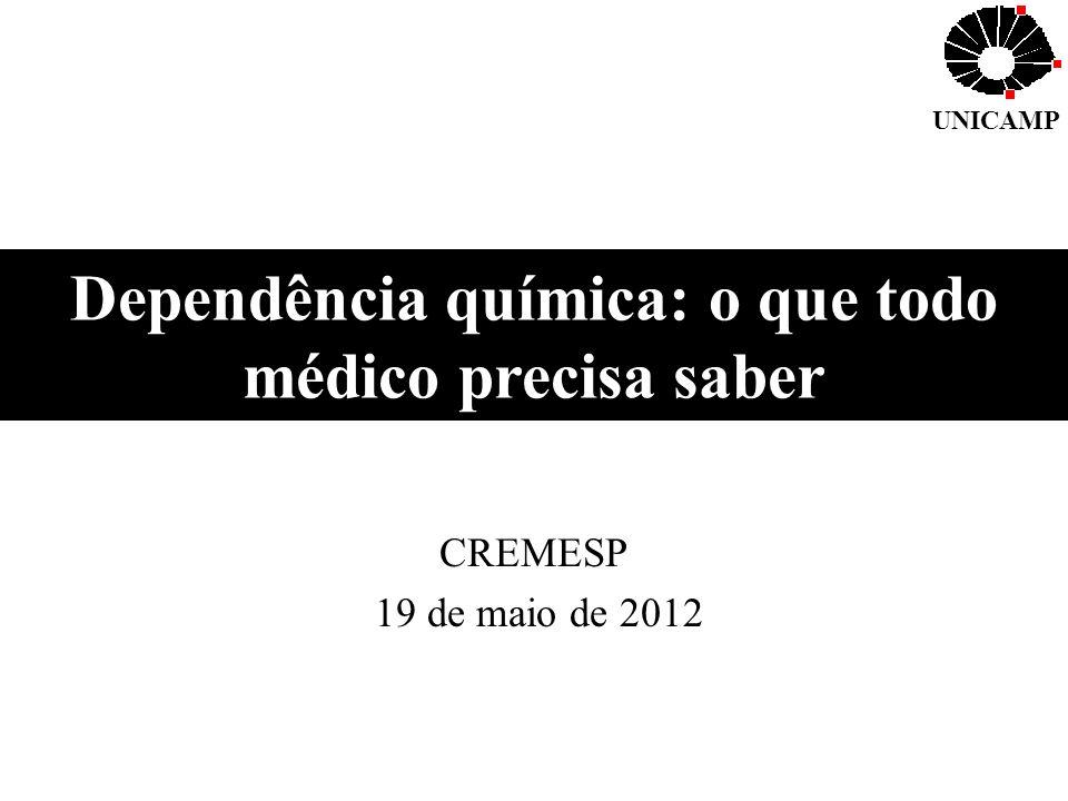 Dependência química: o que todo médico precisa saber CREMESP 19 de maio de 2012 UNICAMP