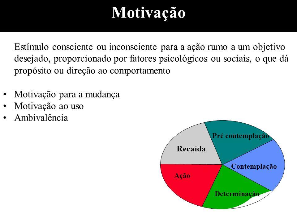Motivação Estímulo consciente ou inconsciente para a ação rumo a um objetivo desejado, proporcionado por fatores psicológicos ou sociais, o que dá pro
