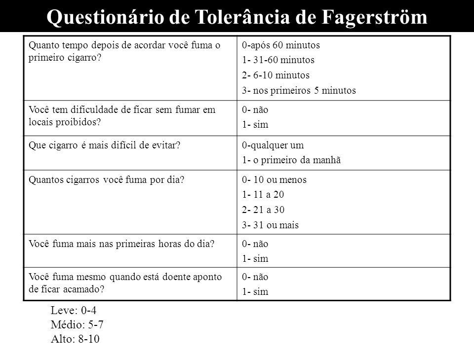 Questionário de Tolerância de Fagerström Quanto tempo depois de acordar você fuma o primeiro cigarro? 0-após 60 minutos 1- 31-60 minutos 2- 6-10 minut