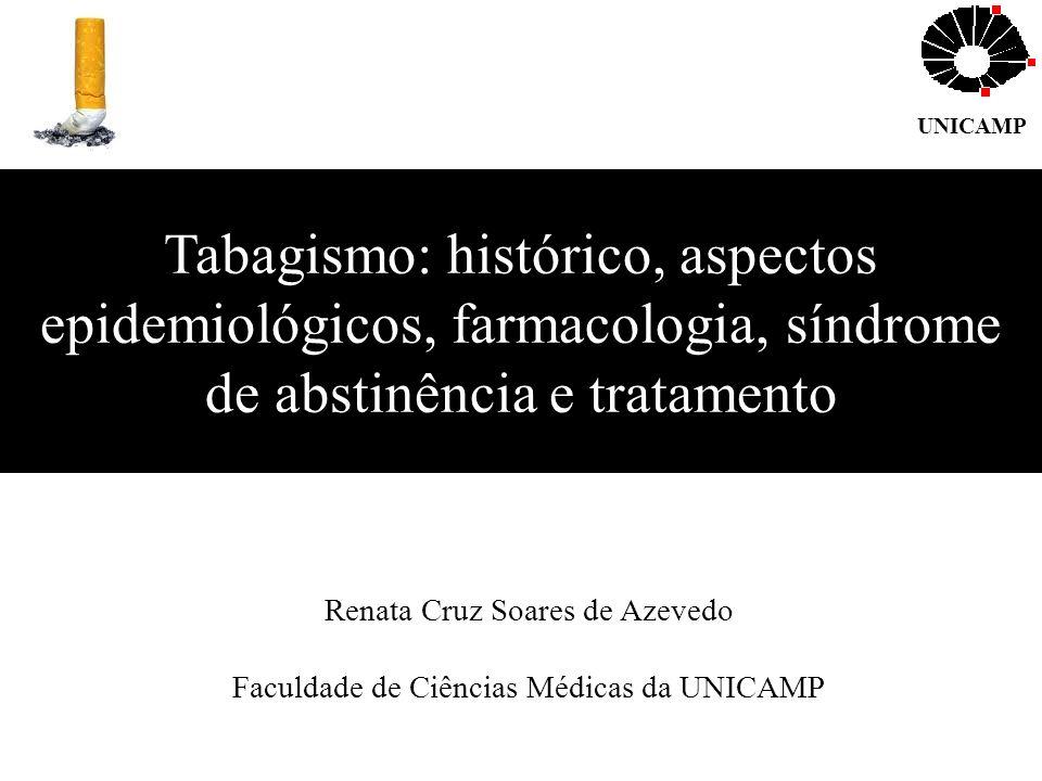 Tabagismo: histórico, aspectos epidemiológicos, farmacologia, síndrome de abstinência e tratamento Renata Cruz Soares de Azevedo Faculdade de Ciências