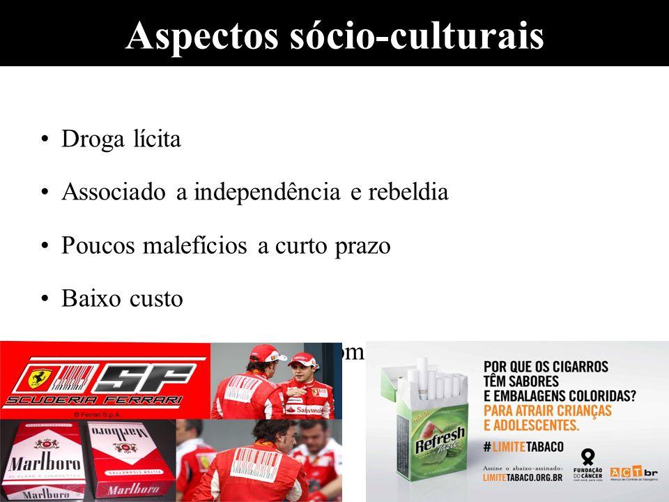 Aspectos sócio-culturais Droga lícita Associado a independência e rebeldia Poucos malefícios a curto prazo Baixo custo Marketing/interesses econômicos