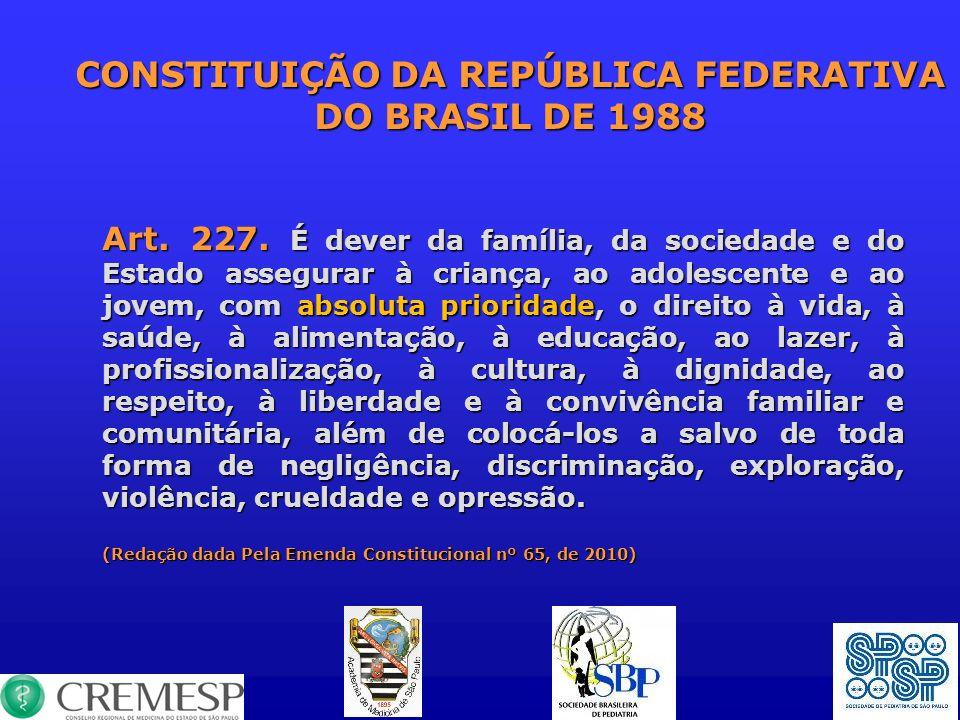 CONSTITUIÇÃO DA REPÚBLICA FEDERATIVA DO BRASIL DE 1988 Art. 227. É dever da família, da sociedade e do Estado assegurar à criança, ao adolescente e ao