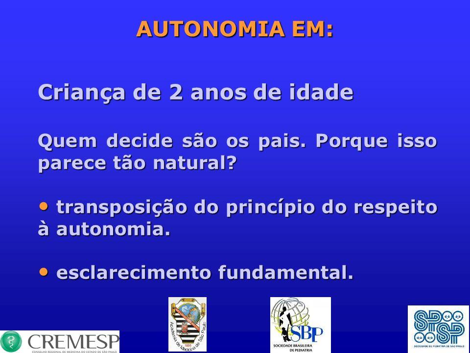 AUTONOMIA EM: Criança de 2 anos de idade Quem decide são os pais. Porque isso parece tão natural? transposição do princípio do respeito à autonomia. t