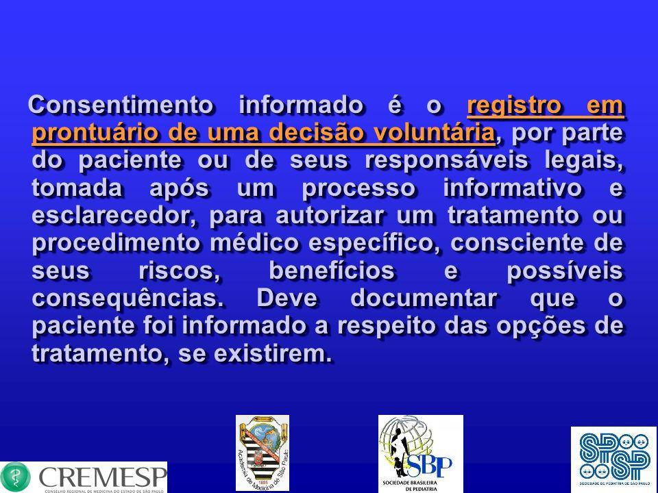 Consentimento informado é o registro em prontuário de uma decisão voluntária, por parte do paciente ou de seus responsáveis legais, tomada após um pro