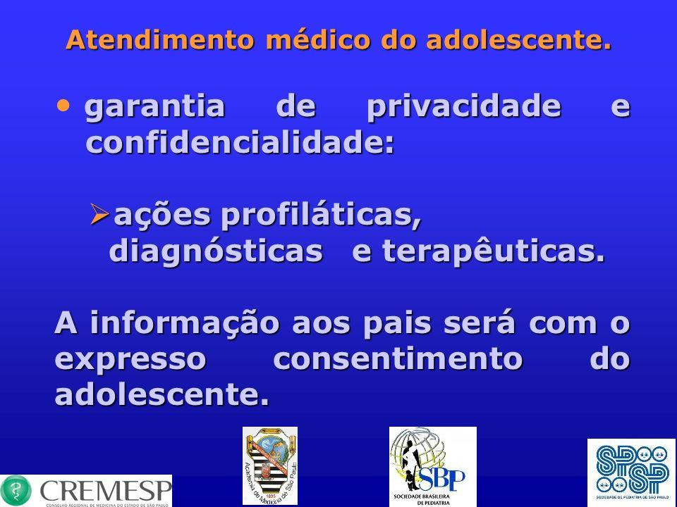 Atendimento médico do adolescente. garantia de privacidade e confidencialidade: ações profiláticas, ações profiláticas, diagnósticas e terapêuticas. d
