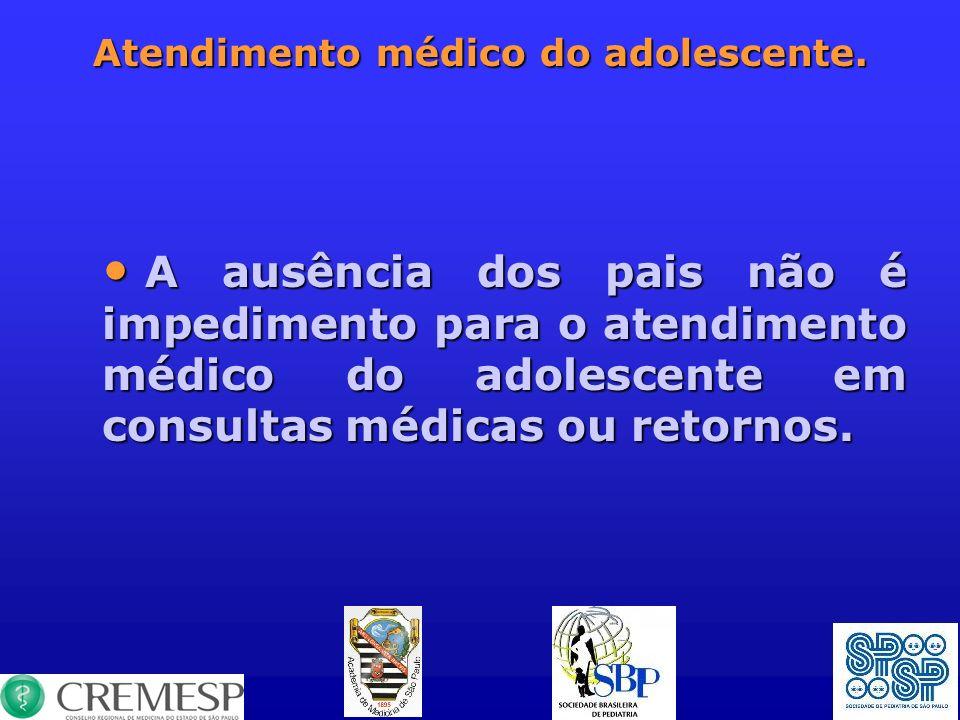 Atendimento médico do adolescente. A ausência dos pais não é impedimento para o atendimento médico do adolescente em consultas médicas ou retornos. A