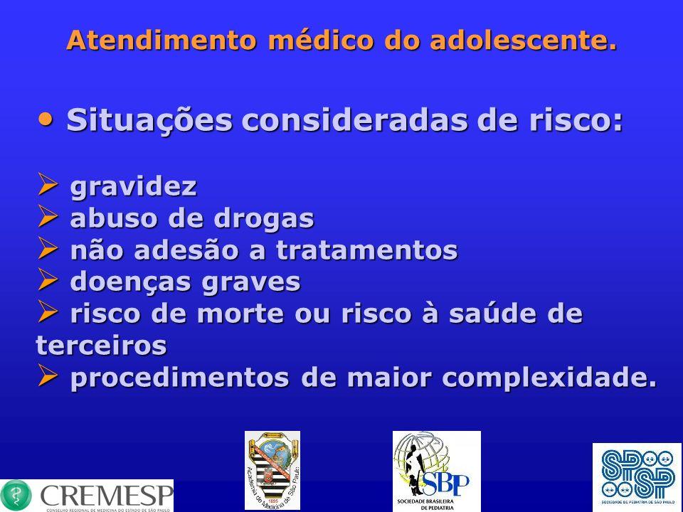 Atendimento médico do adolescente. Situações consideradas de risco: Situações consideradas de risco: gravidez gravidez abuso de drogas abuso de drogas