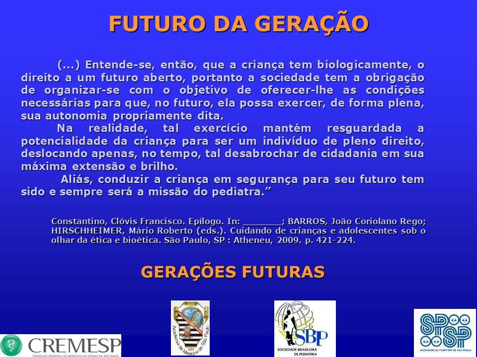 FUTURO DA GERAÇÃO (...) Entende-se, então, que a criança tem biologicamente, o direito a um futuro aberto, portanto a sociedade tem a obrigação de org