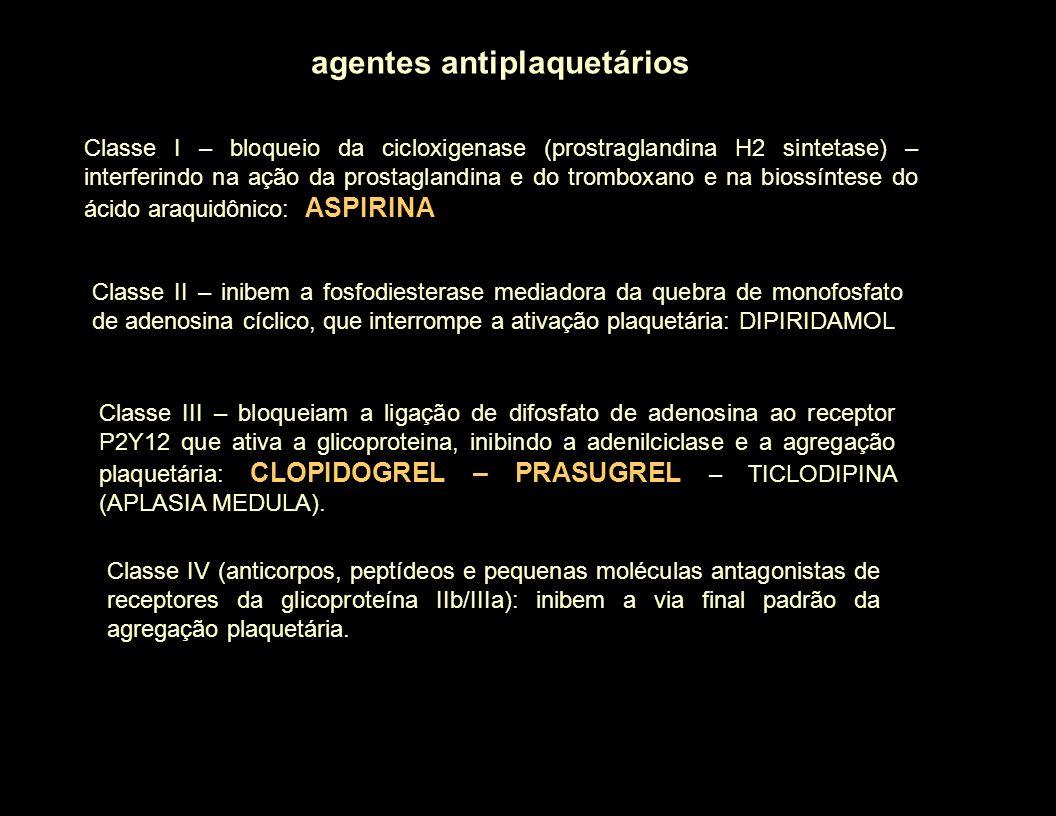 agentes antiplaquetários Classe I – bloqueio da cicloxigenase (prostraglandina H2 sintetase) – interferindo na ação da prostaglandina e do tromboxano