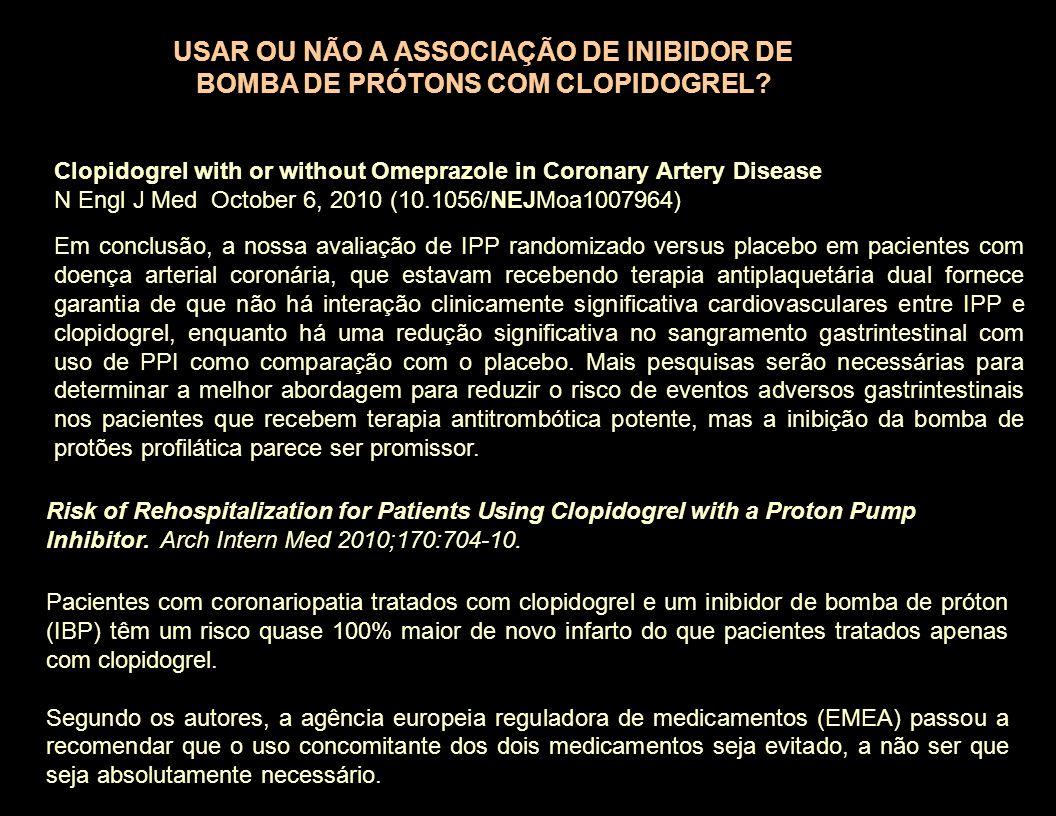 Em conclusão, a nossa avaliação de IPP randomizado versus placebo em pacientes com doença arterial coronária, que estavam recebendo terapia antiplaque