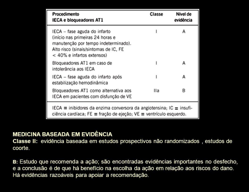 MEDICINA BASEADA EM EVIDÊNCIA Classe II: evidência baseada em estudos prospectivos não randomizados, estudos de coorte. B: Estudo que recomenda a ação