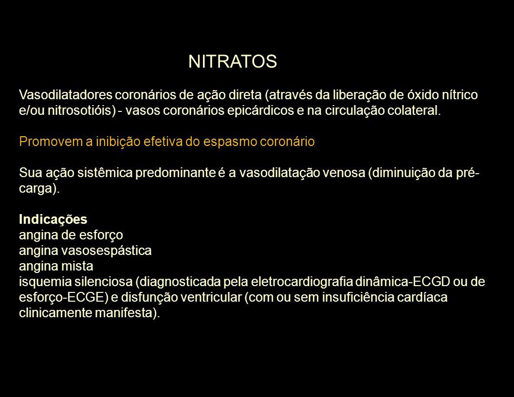 Vasodilatadores coronários de ação direta (através da liberação de óxido nítrico e/ou nitrosotióis) - vasos coronários epicárdicos e na circulação col