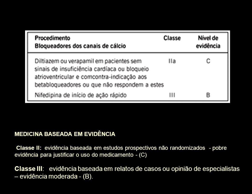 MEDICINA BASEADA EM EVIDÊNCIA Classe II: evidência baseada em estudos prospectivos não randomizados - pobre evidência para justificar o uso do medicam