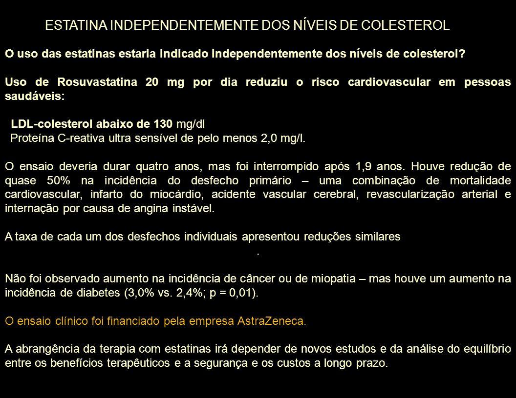 O uso das estatinas estaria indicado independentemente dos níveis de colesterol? Uso de Rosuvastatina 20 mg por dia reduziu o risco cardiovascular em