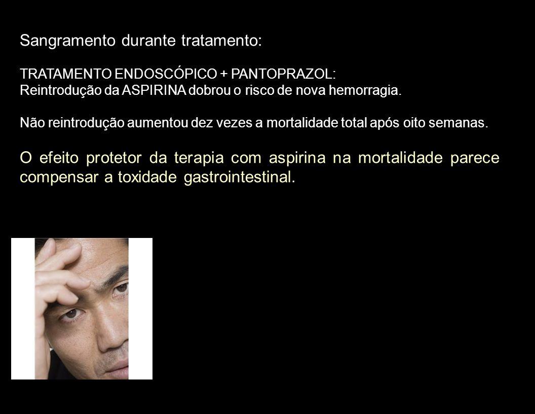 Sangramento durante tratamento: TRATAMENTO ENDOSCÓPICO + PANTOPRAZOL: Reintrodução da ASPIRINA dobrou o risco de nova hemorragia. Não reintrodução aum
