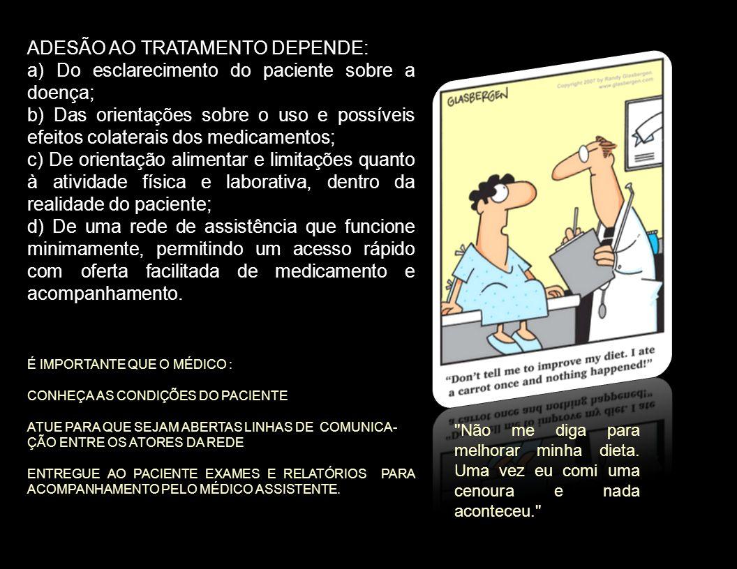 ADESÃO AO TRATAMENTO DEPENDE: a) Do esclarecimento do paciente sobre a doença; b) Das orientações sobre o uso e possíveis efeitos colaterais dos medic