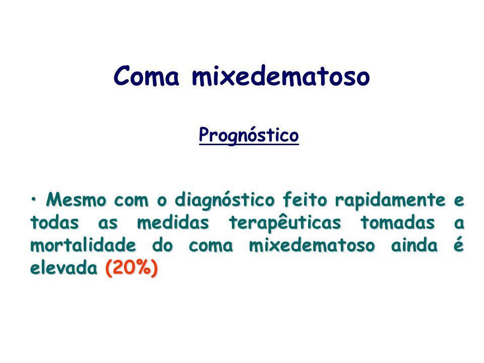 Prognóstico Mesmo com o diagnóstico feito rapidamente e todas as medidas terapêuticas tomadas a mortalidade do coma mixedematoso ainda é elevada (20%)