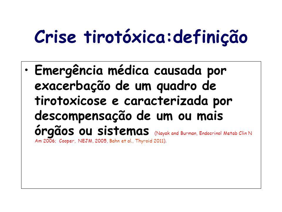 Crise tirotóxica:definição Emergência médica causada por exacerbação de um quadro de tirotoxicose e caracterizada por descompensação de um ou mais órg