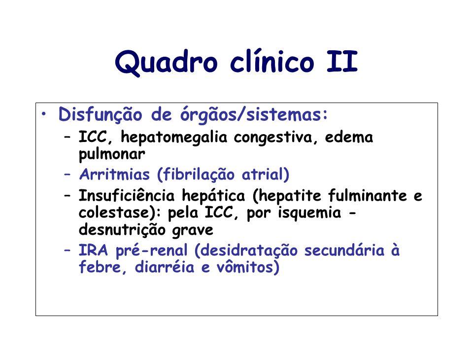 Quadro clínico II Disfunção de órgãos/sistemas: –ICC, hepatomegalia congestiva, edema pulmonar –Arritmias (fibrilação atrial) –Insuficiência hepática