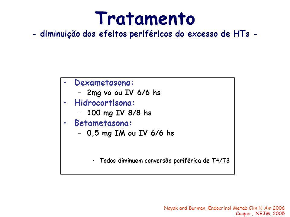 Dexametasona: –2mg vo ou IV 6/6 hs Hidrocortisona: –100 mg IV 8/8 hs Betametasona: –0,5 mg IM ou IV 6/6 hs Todos diminuem conversão periférica de T4/T