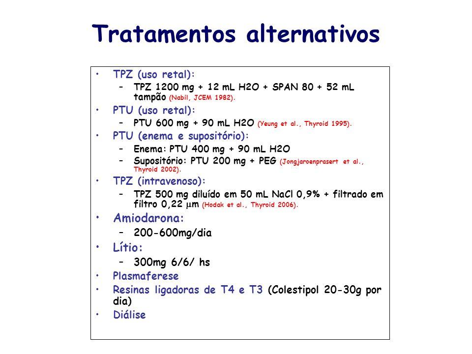 Tratamentos alternativos TPZ (uso retal): –TPZ 1200 mg + 12 mL H2O + SPAN 80 + 52 mL tampão (Nabil, JCEM 1982). PTU (uso retal): –PTU 600 mg + 90 mL H