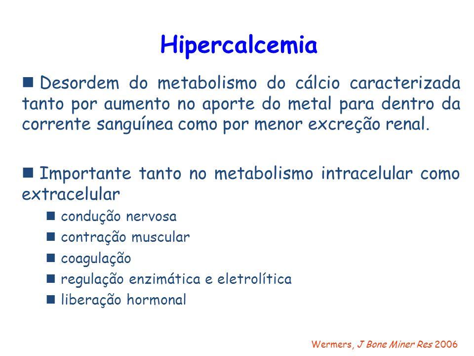 Hipercalcemia Desordem do metabolismo do cálcio caracterizada tanto por aumento no aporte do metal para dentro da corrente sanguínea como por menor ex