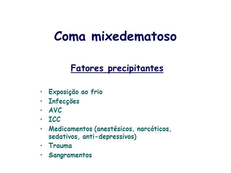 Fatores precipitantes Exposição ao frio Infecções AVC ICC Medicamentos (anestésicos, narcóticos, sedativos, anti-depressivos) Trauma Sangramentos Coma