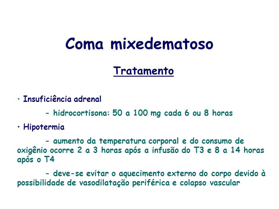Tratamento Insuficiência adrenal - hidrocortisona: 50 a 100 mg cada 6 ou 8 horas Hipotermia - aumento da temperatura corporal e do consumo de oxigênio